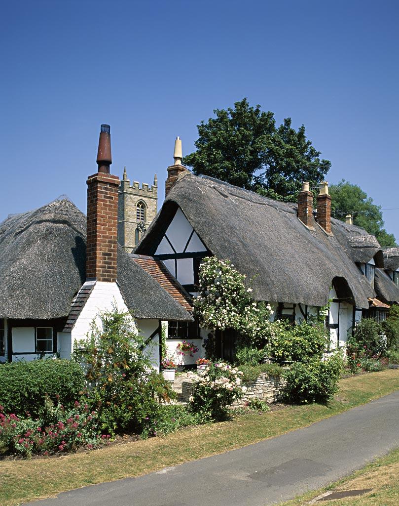 茅草屋顶,房子,教堂,英格兰